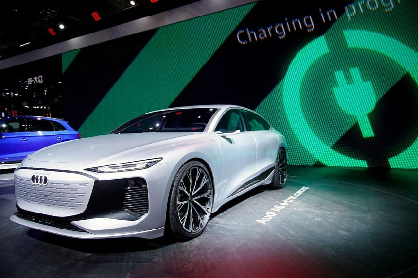 An Audi A6 e-tron concept electric vehicle is seen at the Auto Shanghai show in Shanghai, China, in April 2021.
