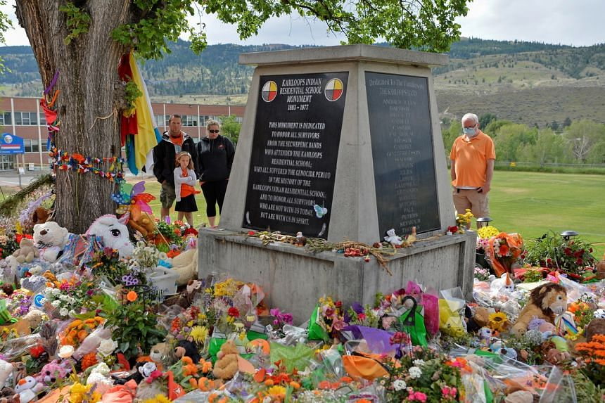 A makeshift memorial on the grounds of the former Kamloops Indian Residential School in Kamloops, Canada, on June 6, 2021.