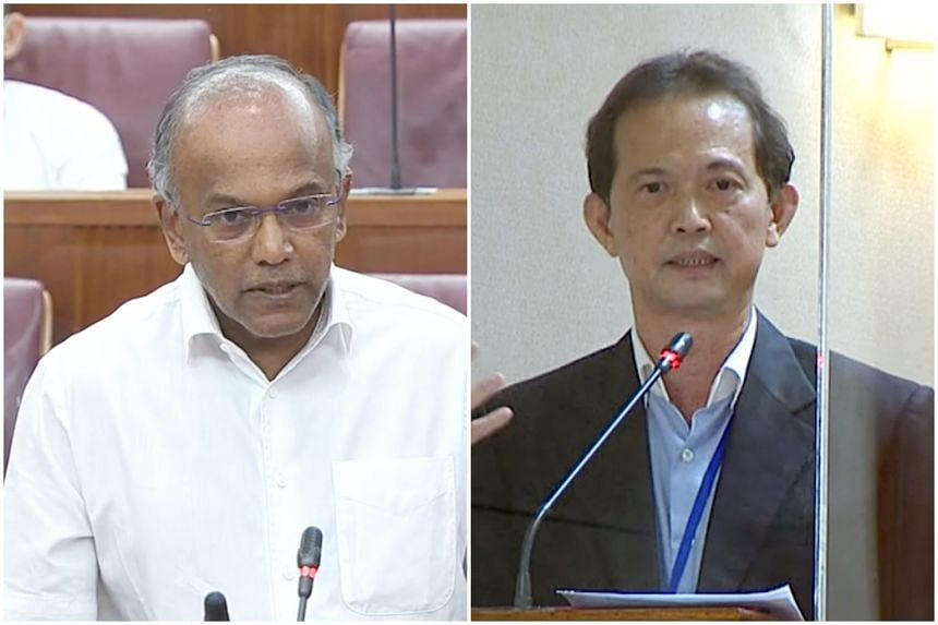 Law and Home Affairs Minister K. Shanmugam (left) and Non-Constituency MP Leong Mun Wai.