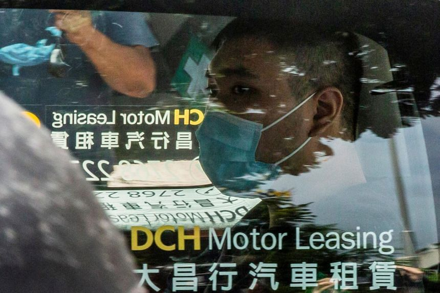 In this file picture, Tong Ying-kit is seen arriving at the West Kowloon Court in Hong Kong on July 6, 2020.