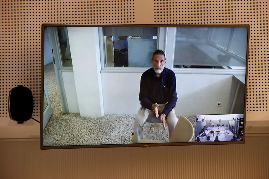 John McAfee appears via videoconference during his extradition hearing in Madrid, Spain, on June 15, 2021.