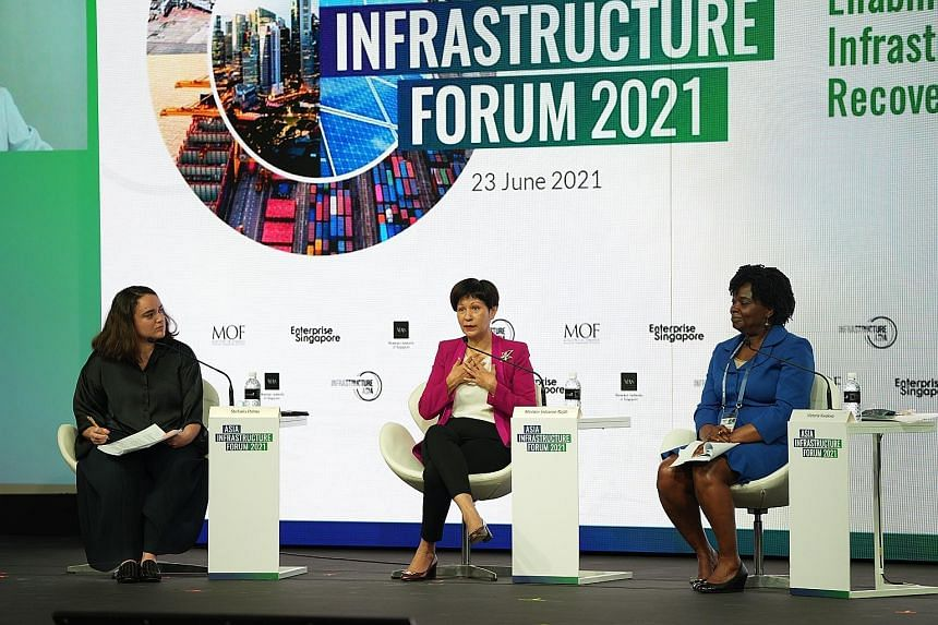 Minister in the Prime Minister's Office Indranee Rajah (centre) with moderator Stefania Palma (left), Singapore correspondent at the Financial Times, and Ms Victoria Kwakwa, vice-president for East Asia and Pacific at the World Bank, at the Asia Infr