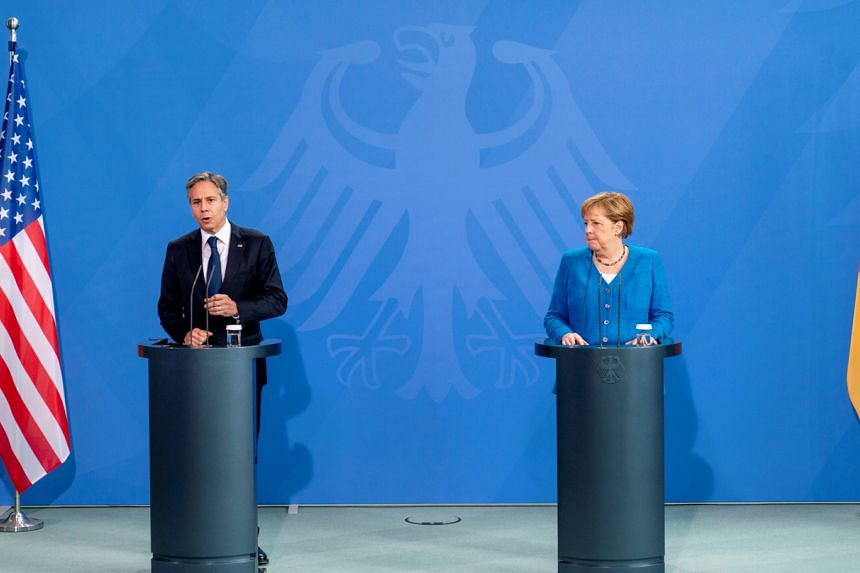 US Secretary of State Antony Blinken and German Chancellor Angela Merkel during a joint press conference in Berlin on June 23, 2021.