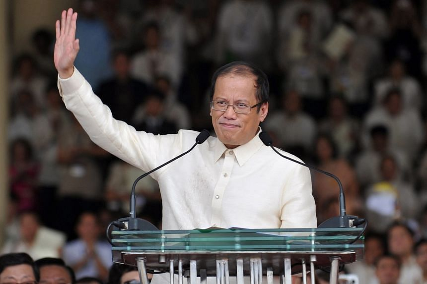 In this photo taken on June 30, 2010, Mr Benigno Aquino is waving to the crowd after delivering his inaugural speech at the Quirino Grandstand in Manila.