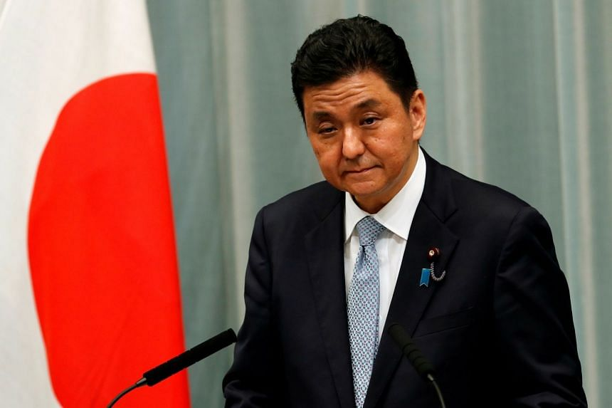 A 2020 photo shows Japan's Defence Minister Nobuo Kishi attending a news conference in Tokyo.