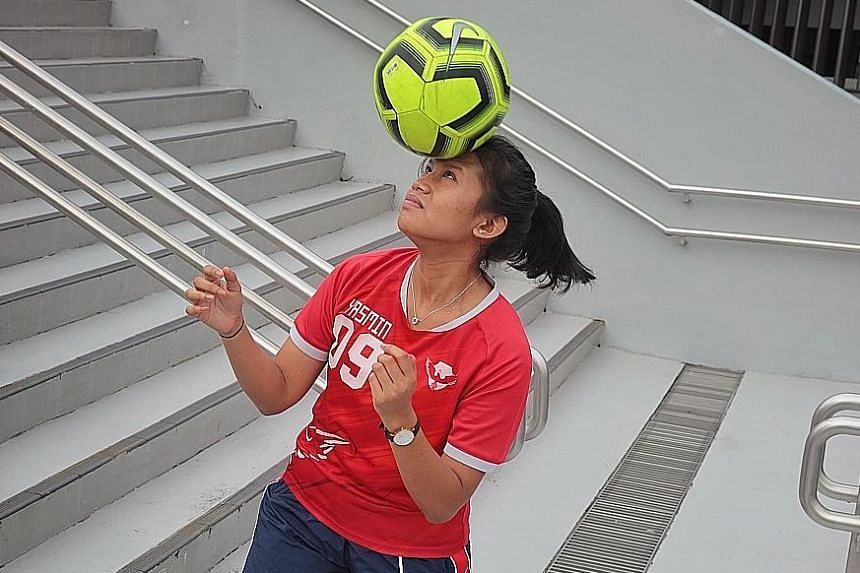 Yasmin Namira Mohammad Yusman, 19, loved football since she was young but picked up the sport only three years ago. Her experience at NYP and Ayer Rajah Gryphons helped earn her a football scholarship.