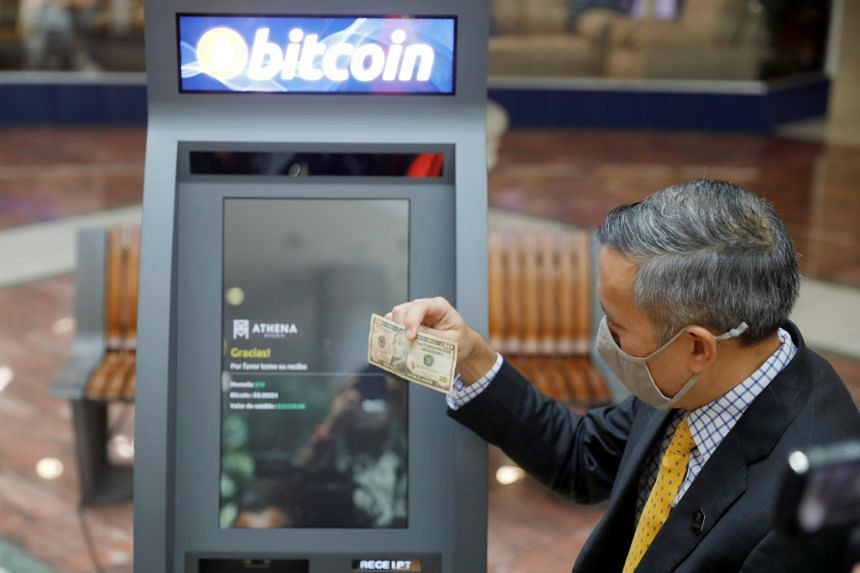 A cryptocurrency ATM installed in El Salvador by Athena Bitcoin seen in  San Salvador on June 24, 2021.