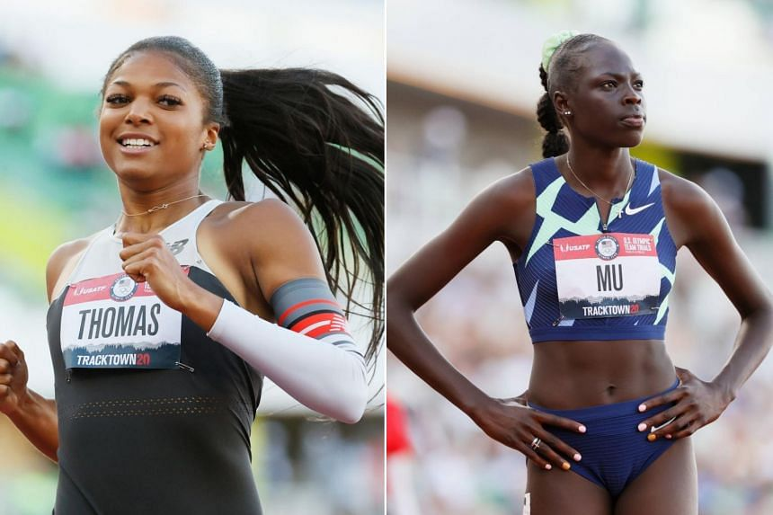 Gabby Thomas (left) became the first woman to duck under the 22-second barrier this year while Athing Mu has been hailed as a potential Olympic star.