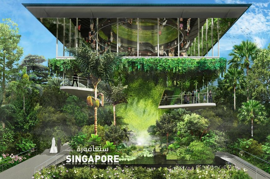 Situated within the Sustainability District of the expo, the 1,550sq m pavilion represents the nation's efforts to be a City in Nature.