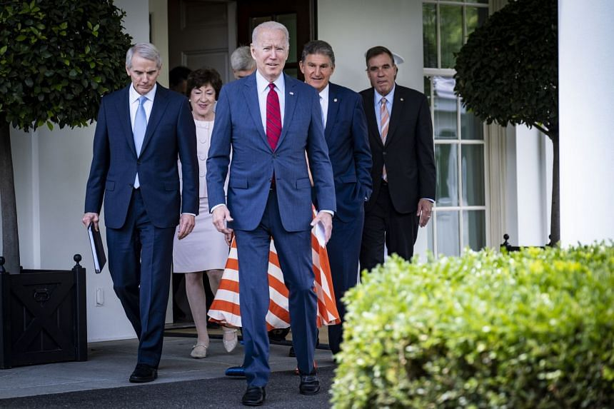 President Joe Biden leads a bipartisan group of senators out of the West Wing after an infrastructure package meeting at the White House on June 24, 2021.