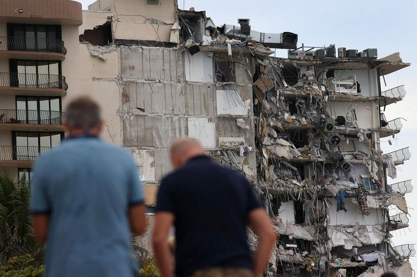 A portion of the Champlain Towers South condo building that partially collapsed in Surfside, Florida, on June 24, 2021.