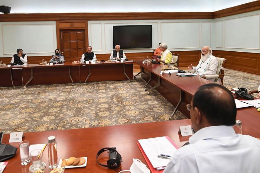Indian premier Narendra Modi during a meeting with leaders from Jammu and Kashmir, in New Delhi on June 24, 2021.