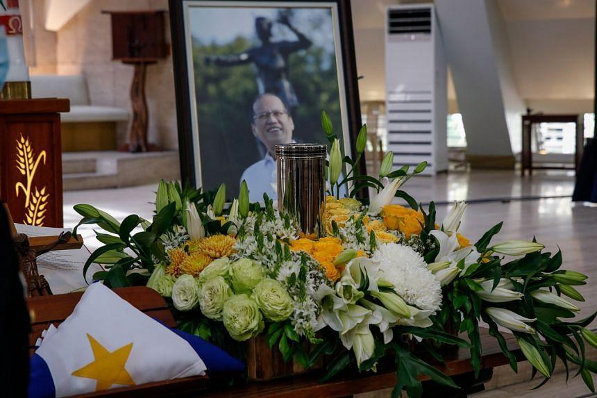 The urn of former president Benigno Aquino III at the Church of Gesu, Ateneo de Manila University in Quezon City, Metro Manila, Philippines, on June 25, 2021.