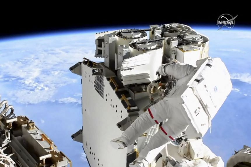 A Nasa TV image shows ESA astronaut Thomas Pesquet during a six-hour spacewalk outside the International Space Station on June 16, 2021.