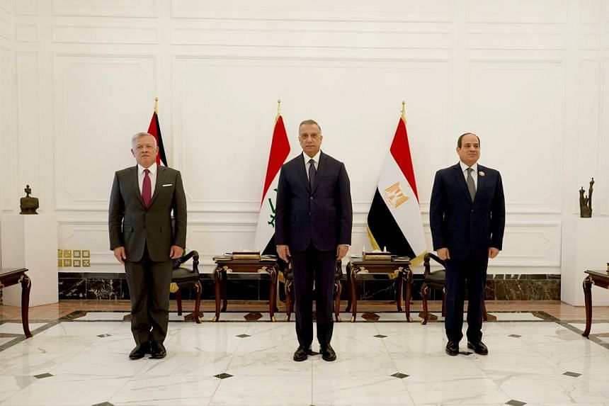 (From left) Jordan's King Abdullah, Iraq's Premier Mustafa al-Kadhimi and Egypt's President Abdel Fattah al-Sisi in Baghdad on June 27. They discussed several areas of regional interest, including the fight against terrorism, said an Egypt presidency