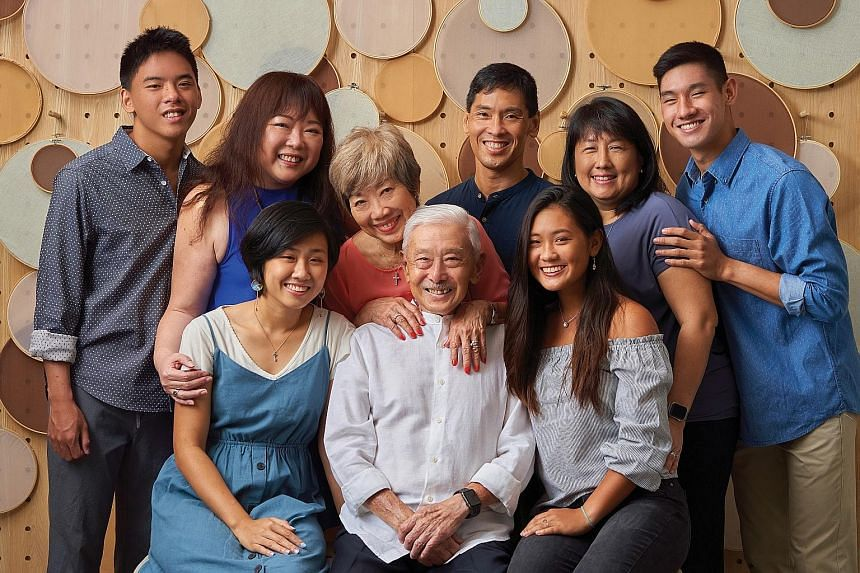 Former military chief Winston Choo (in white) in a family photo last year. Among other things, his memoir touches on his leadership philosophy, his cancer battle and the support given by his wife Kate (in red).