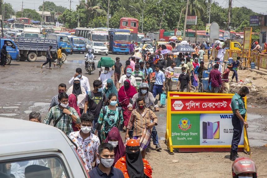 The lockdown announcement sparked an exodus of migrant workers from the capital Dhaka to home villages.