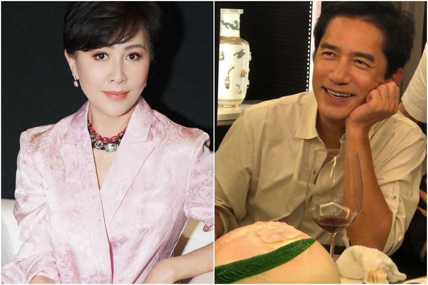 Carina Lau posted a photo of Tony Leung with a glass of wine and a big longevity peach in front of him.