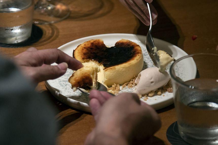 Basque burnt cheesecake at Asador Singapore.