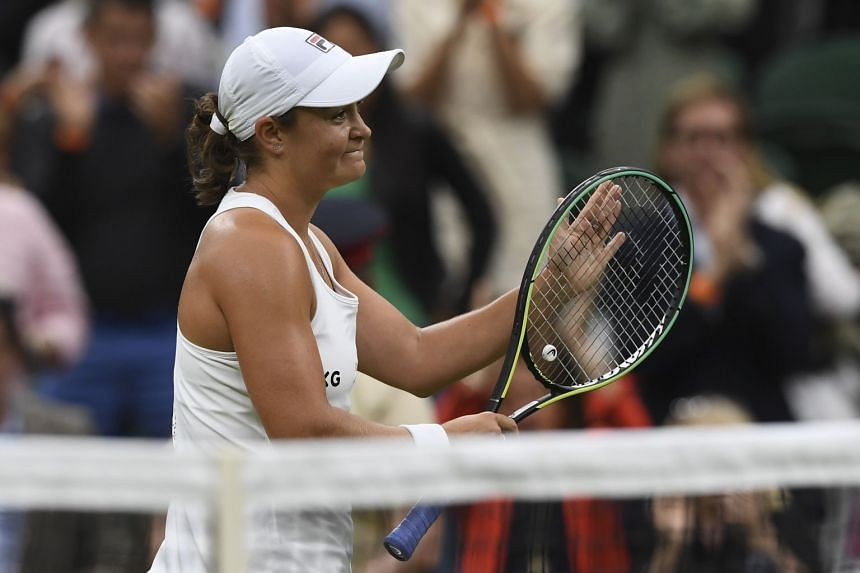 Barty reacts after winning her first-round match against Carla Suarez Navarro of Spain.