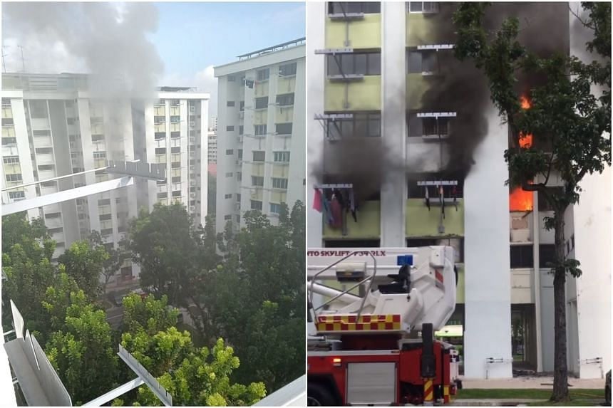 Videos circulating online show flames engulfing the units on the third, fourth and fifth floors, and dense grey smoke billowing towards the flats above.