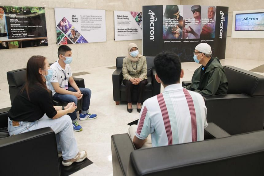 President Halimah Yacob during a visit to Micron Semiconductor Asia in Woodlands on June 29, 2021.