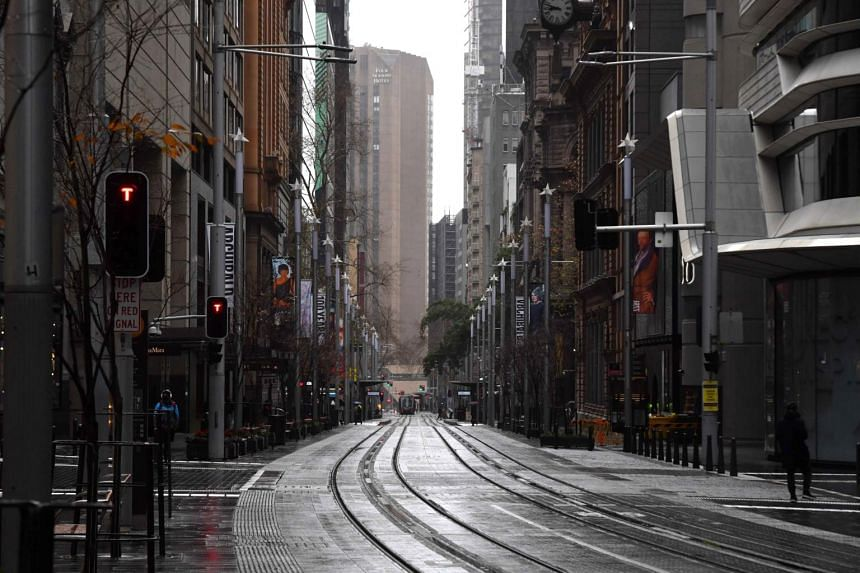 An empty street in the central business district of Sydney on June 29, 2021.