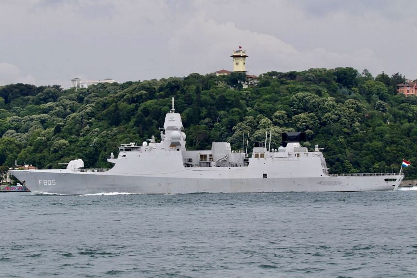 The Evertsen sets sail in the Bosphorus, on its way to the Black Sea, in Istanbul, Turkey, on June 14, 2021.