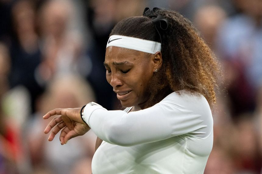 Williams (above) was in tears when she tried to resume the match after treatment, and with the score at 3-3 could go no further.