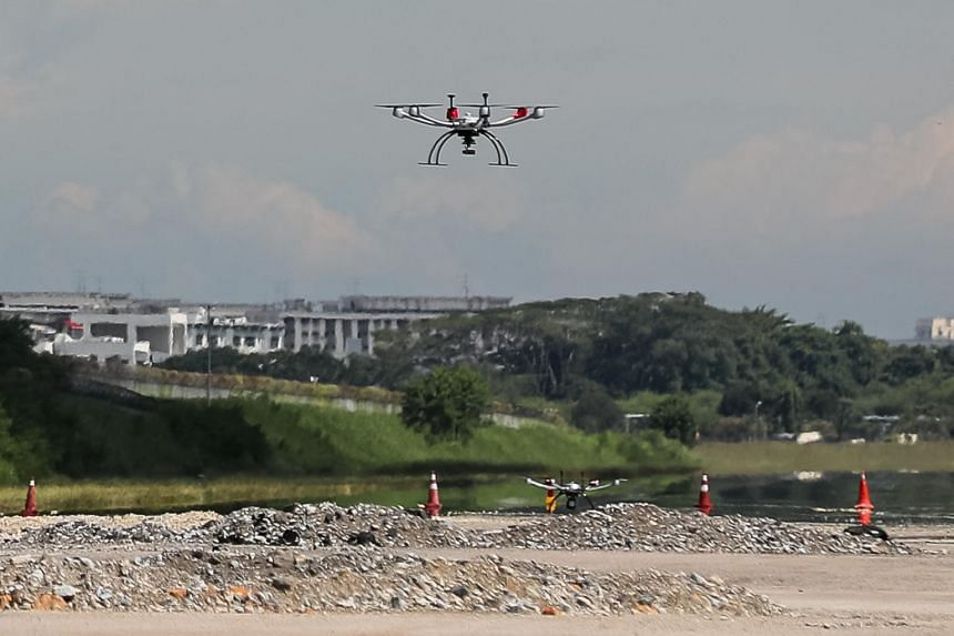 A drone at a test site in Paya Lebar Airbase on June 23, 2021.