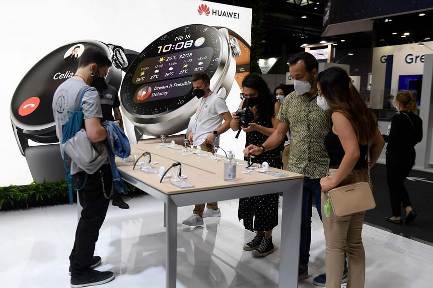 Huawei had one of the biggest and most brightly lit stands at the congress, displaying its line of smartphones, smartwatches and other devices.