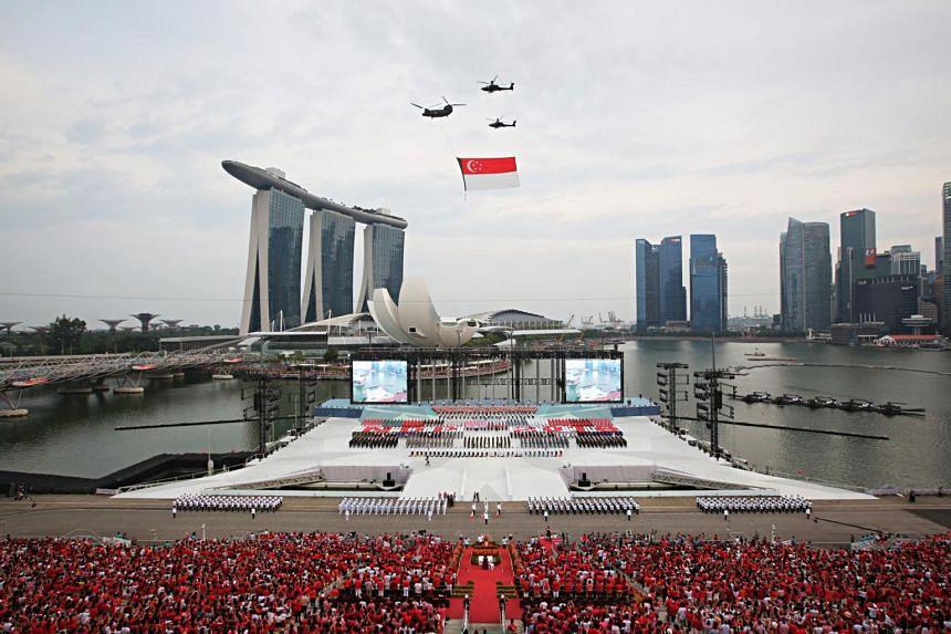 National Day Parade celebrations at the Marina Bay floating platform in 2018.