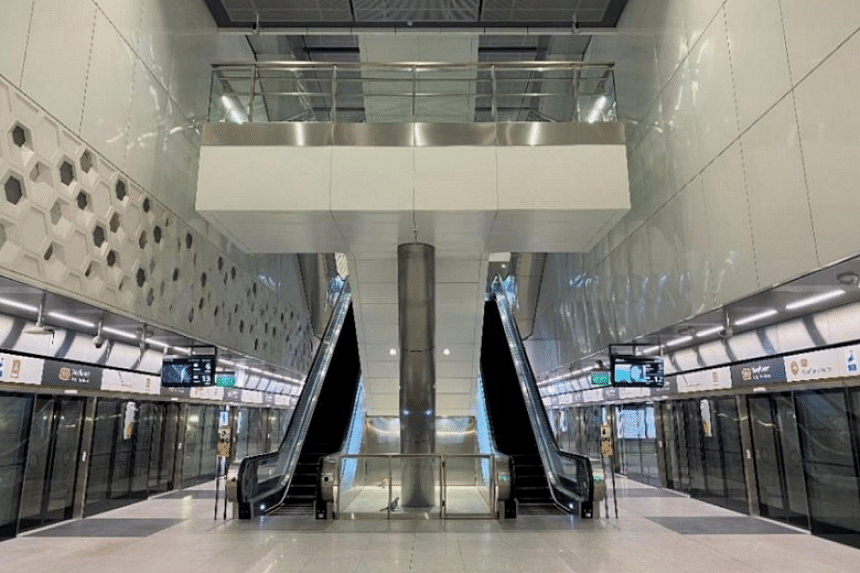 The new six-station stretch connects Springleaf, Lentor, Mayflower (above), Bright Hill, Upper Thomson and Caldecott stations.