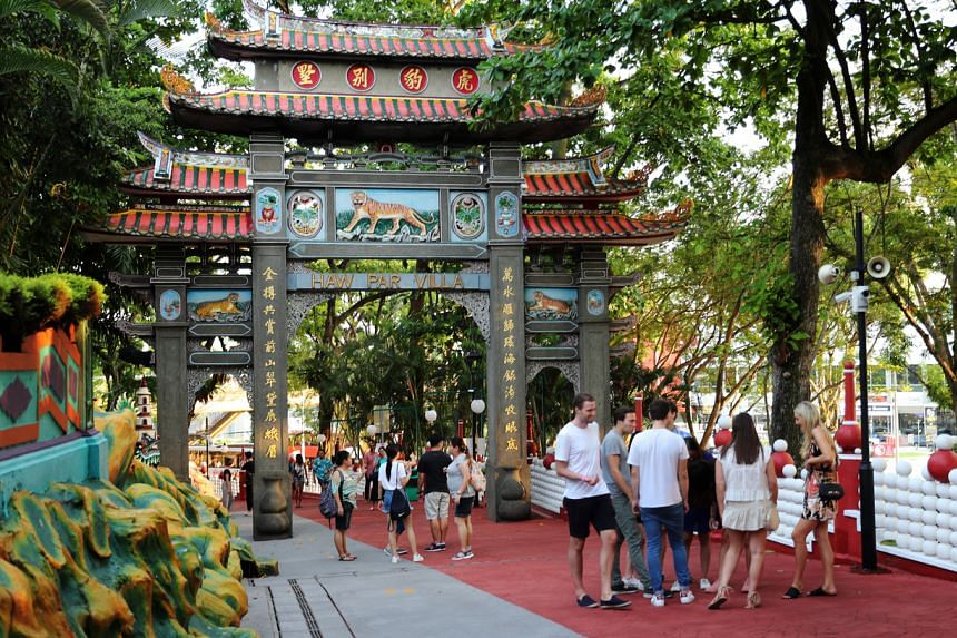 Visitors at the entrance of Haw Par Villa on June 8, 2019. The theme park was closed in October 2020 for upgrading works.