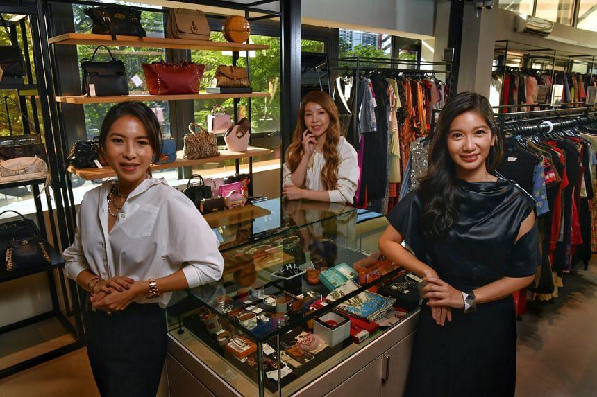 (From left) Sabrina Joseph-Tan, Tresor Anne Tan and Janice Winata at Hunstreet Singapore, on June 28, 2021.
