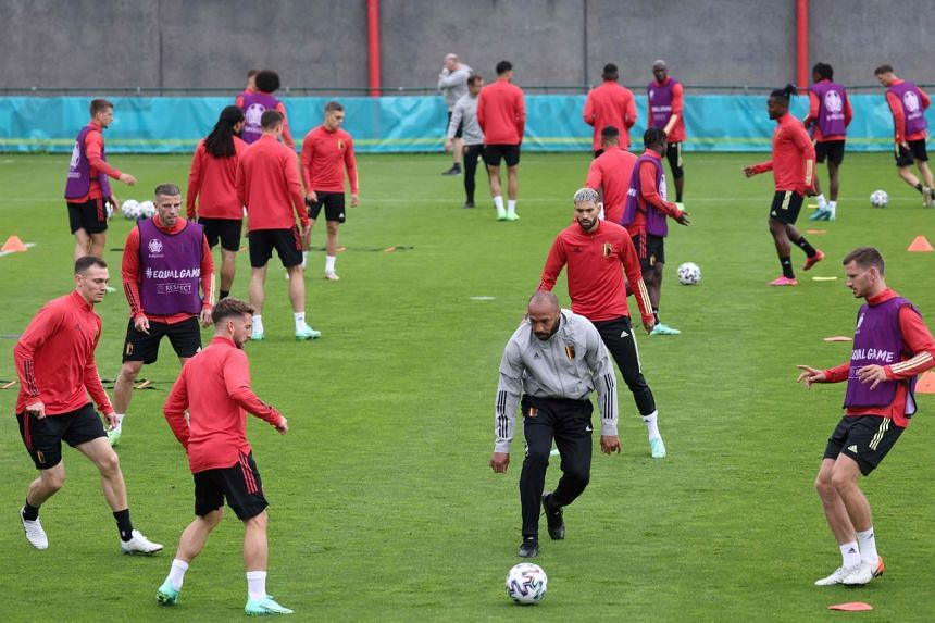 Belgium's training session on the eve of their Uefa Euro 2020 quarter-final football match against Italy.