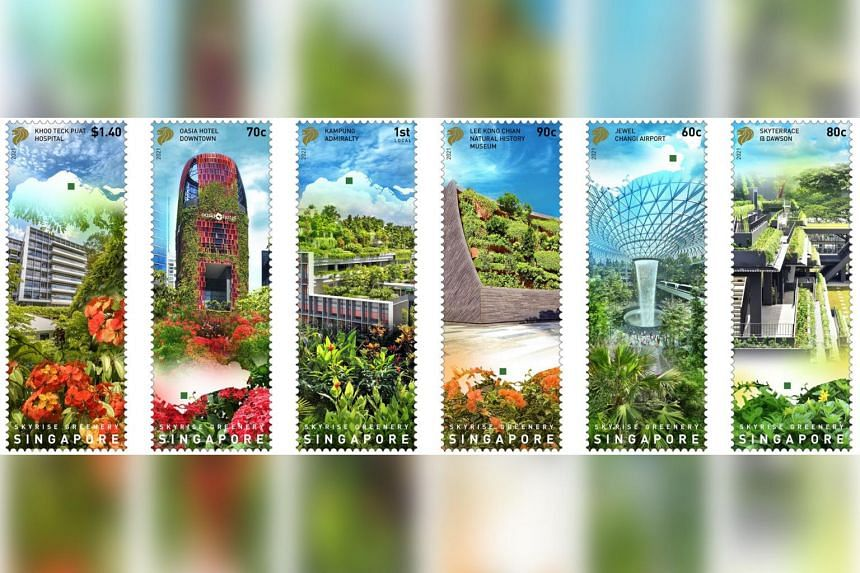 The stamps feature six skyrise greenery projects built by public and private developers in the last 10 years.