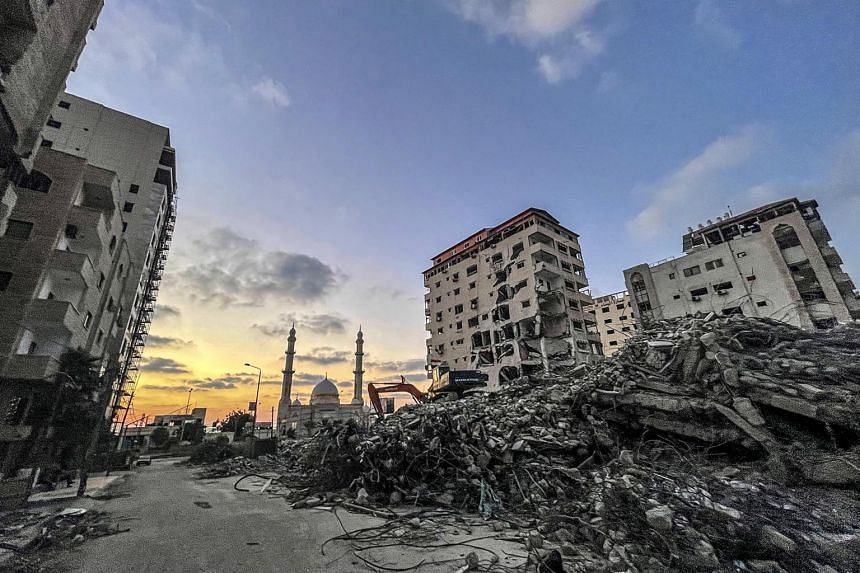 The rubble of destroyed towers and houses in Gaza City on June 25, 2021.
