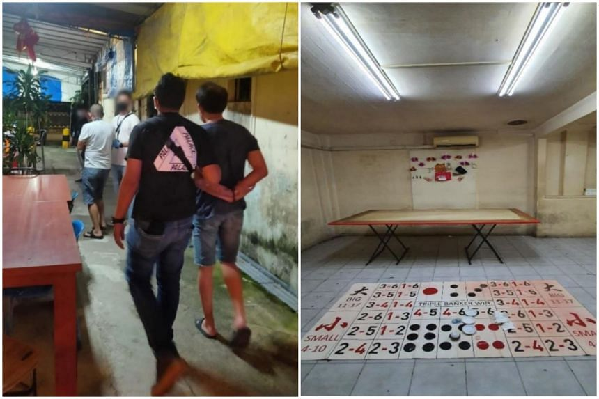 The police arrested 19 men for suspected illegal gambling offences, during a raid on two units in Lorong 13 Geylang.