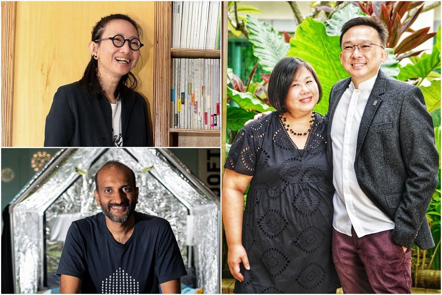 (Clockwise from top left) Designer of the Year recipients Kelley Cheng, Belinda Huang and Khoo Peng Beng, and Design of the Year co-winner Prasoon Kumar.