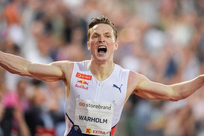 Norway's Karsten Warholm, the world and European champion, clocked 46.70 seconds in his first hurdles race of the season.