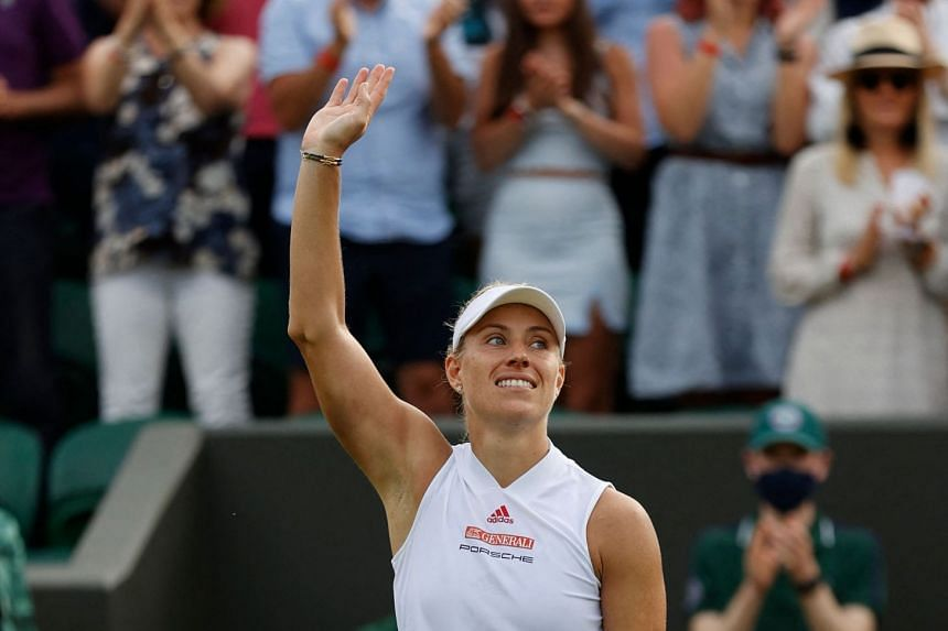 Germany's Angelique Kerber celebrates her victory over Spain's Sara Sorribes Tormo.