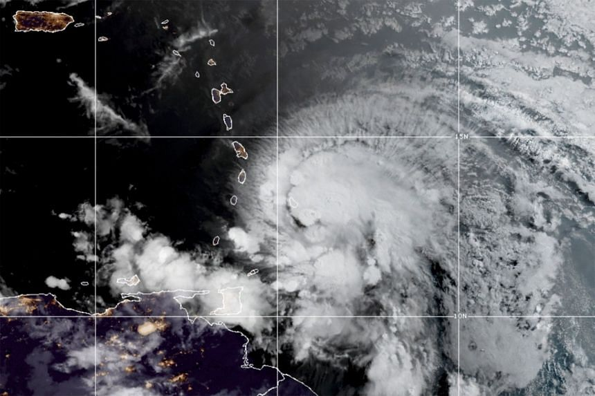 A satellite image shows Hurricane Elsa over the Lesser Antilles and approaching the Caribbean Sea on July 2, 2021.