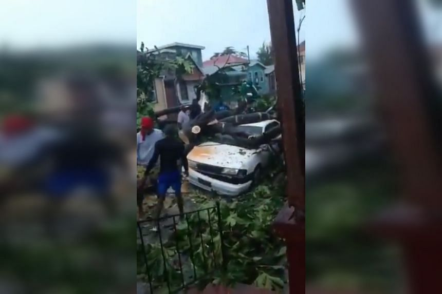 A screenshot from a video posted online, said to show the aftermath of Hurricane Elsa.