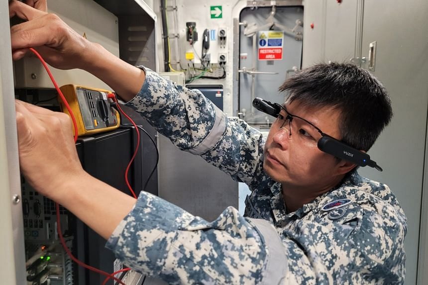 Visors with a camera allows ship crew to do live video calls with experts on shore to rectify defects more easily.