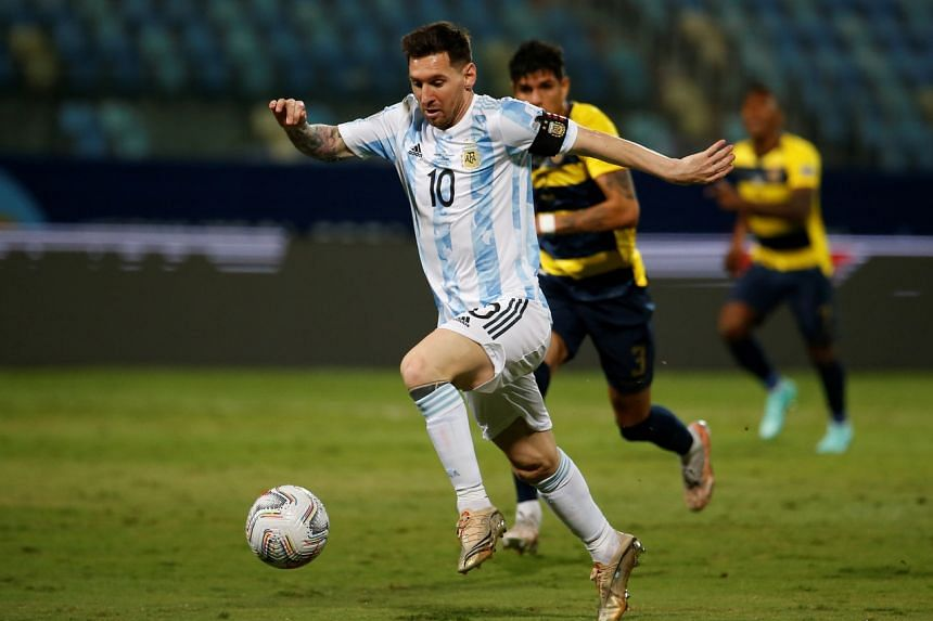 Lionel Messi in action at the Pedro Ludovico Teixeira Olympic Stadium in Goiania, Brazil, on July 3, 2021.
