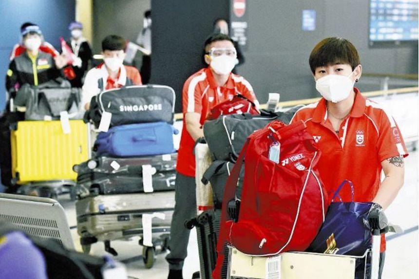 Singapore's table tennis team arriving at Nagoya's Chubu Centrair International Airport on June 27, 2021.