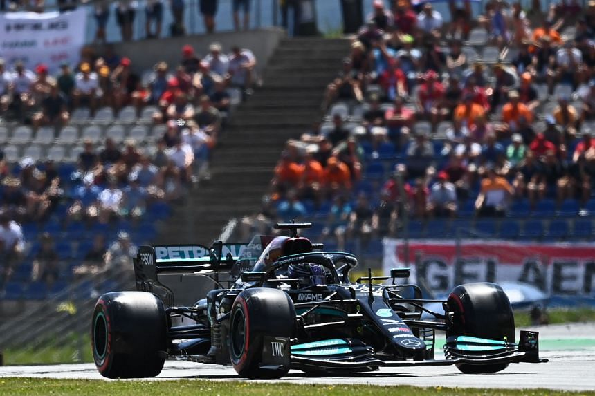 Lewis Hamilton of Mercedes during a practice session ahead of the Formula One Austrian Grand Prix in Spielberg, Austria, on July 3, 2021.