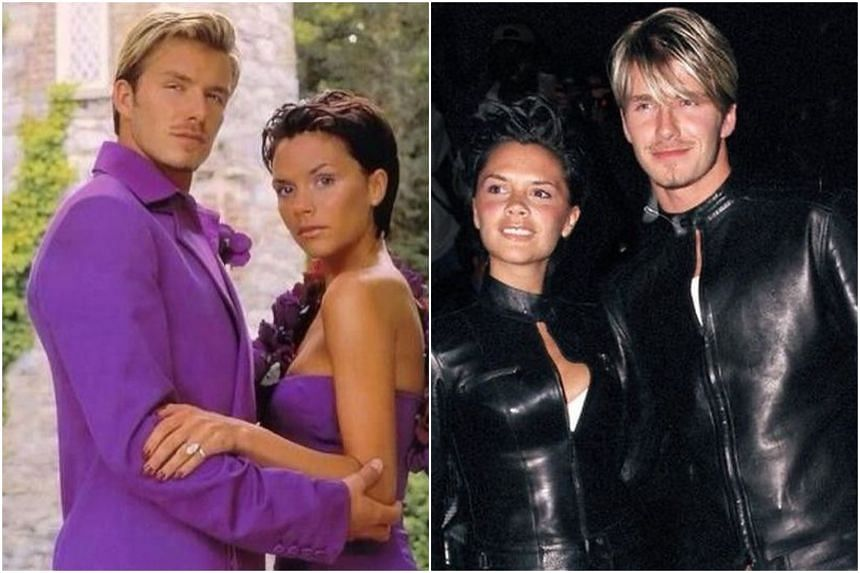 He included a snap of them in their all-purple wedding attire from 1999, as well as one of them in full leather outfits that same year.