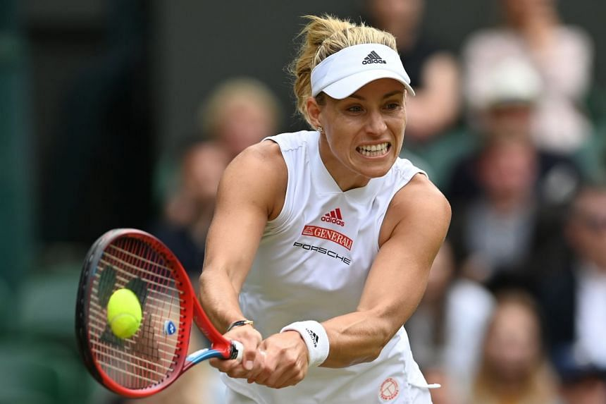 Angelique Kerber in action against Coco Gauff at the Wimbledon Championships, on July 5, 2021.
